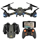 Drones with Camera, Fansteck RC Quadcopter Foldable Drone, One Key Take Off & Land / WIFI FPV Drones with Camera 720P / Altitude Hold / Headless Mode 2 Batteries, 2.4Ghz 4 Channel 6-Axis Gyro - Grey