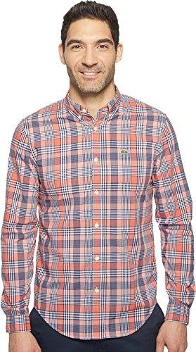 Lacoste Men's Long Sleeve Bold Poplin Plaid Slim Fit Salsa Red/Blackthorn/White Shirt