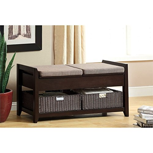 Furniture of America Concorde Lift Top Storage Entryway Bench with Baskets, Espresso by Furniture of America