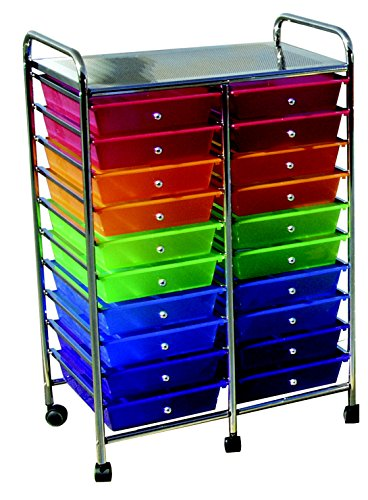 School Smart 406832 Mobile Organizer, 20 Drawers, 39'' x 21-3/4'' x 14'', Multi-Color by School Smart