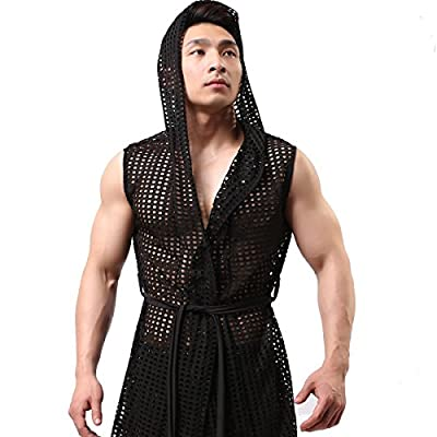 YUFEIDA Men's Sexy Hooded Sleeveless Robes Bathrobes Mesh See-Through Lingerie Sleepwear Pajamas