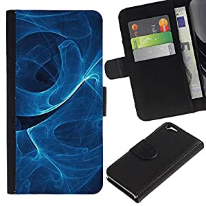EJOY---Tirón de la caja Cartera de cuero con ranuras para tarjetas / Apple Iphone 6 / --Azul remolina modelo