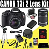 Canon EOS Rebel T3i 18 MP CMOS Digital SLR Camera with EF-S 18-55mm f/3.5-5.6 IS II Zoom Lens and EF-S 55-250mm f/4.0-5.6 IS Telephoto Zoom Lens + 16GB Deluxe Accessory Kit, Best Gadgets