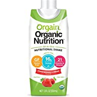Orgain Organic Nutrition Shake, Strawberries & Cream, Gluten Free, Kosher, Non-GMO, 11 Ounce, 12 Count, Packaging May Vary