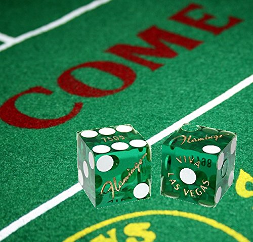 Cyber-Deals Craps Bundle Set: Las Vegas Style Felt Layout + 19mm Authentic Flamingo Casino Table-Played Dice (Green)