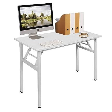 Need Mesa Plegable 100x60cm Mesa de Ordenador Escritorio de Oficina Mesa de Estudio Puesto de trabajo Mesas de Recepción Mesa de Formación, Blanco