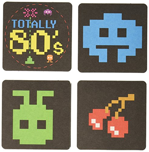 [80's Coasters (asstd designs)    (8/Pkg)] (Pac Man Arcade Costume)