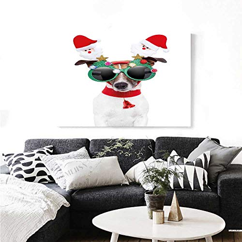 Warm Family Christmas Canvas Wall Art for Bedroom Home Decorations Funny Puppy Jack Russel Dog with Hilarious Sunglasses Santa Figures and Bell Wall Stickers 28