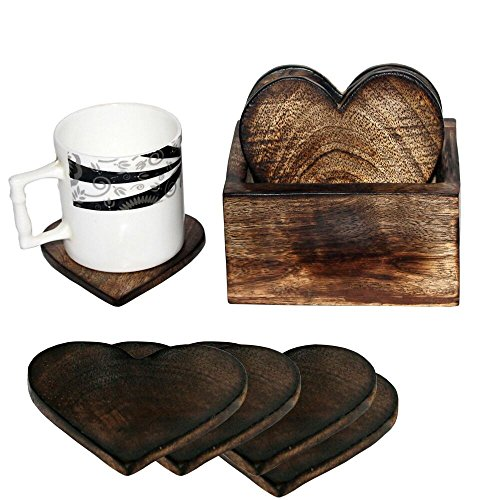 Wooden Coaster Set of 6 Love Heart Design Burned Coasters with Holder- For Tea  Coffee Cups, Mugs, Beverages, Glass Drink Mats