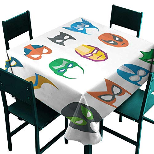 Superhero Tablecloth for Wedding Hero Mask Female Male Costume Power Justice People Fashion Icons Kids Display Multicolor Square Tablecloth W 50