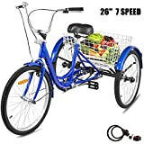 Happybuy 26inch Adult Tricycle 7 Speed Single Speed 3 Wheel Bike Adult Tricycle