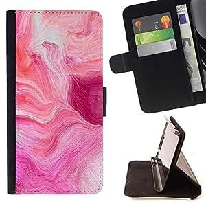 - Purple Love Abstract Fluid Pretty - Estilo PU billetera de cuero del soporte del tir???¡¯???3n [solapa de cierre] Cubierta- For HTC One M7 ( Devil Case )