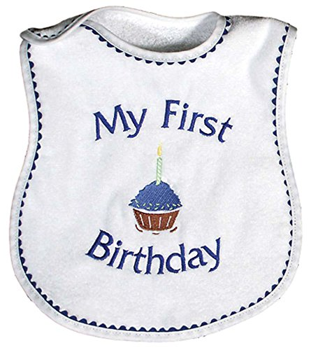 Raindrops My First Birthday Embroidered Bib, Royal - Birthday Bib