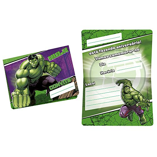 Regina Convite Pequeno R305 Hulk Animacao, 8 Unidades
