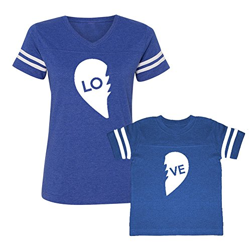 We Match! LO - VE - Two Parts of A Heart = Love Matching Women's Football V-Neck T-Shirt & Child T-Shirt Set (4T T-Shirt, Women's Football T-Shirt Large, Royal)