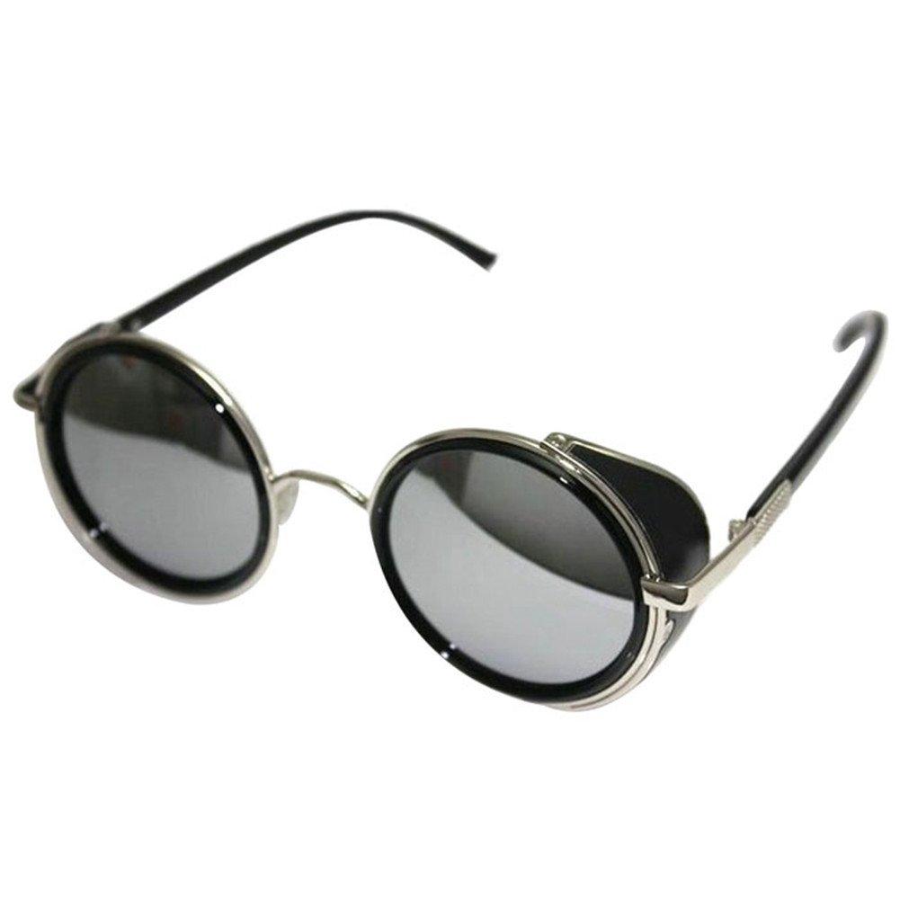 Culater® Retro lente a specchio tondo Occhiali Cyber Occhiali Steampunk occhiali da sole vintage (F) P6xemEFc