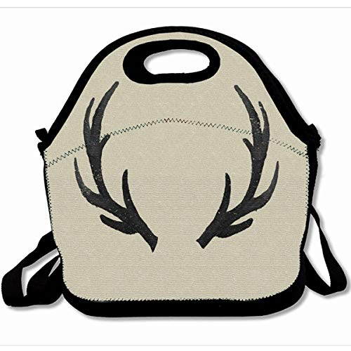 - Ahawoso Reusable Insulated Lunch Tote Bag Black Deer Antlers 10X11 Zippered Neoprene School Picnic Gourmet Lunchbox