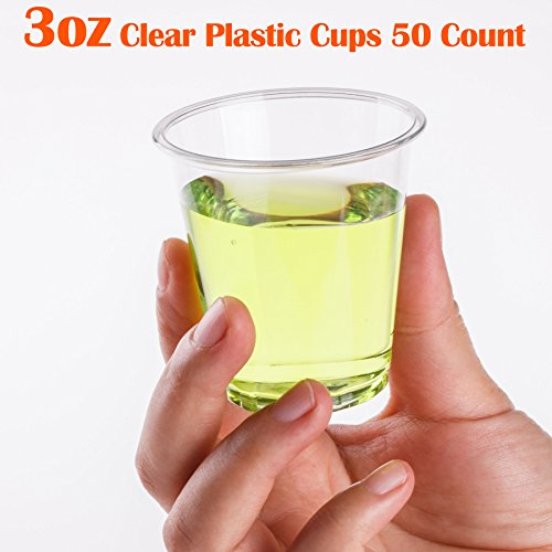 Golden Apple, 3 oz clear plastic cups. Disposable Mini Cups Hard Plastic Cups, Plastic Shot Glasses, Jello Shot Party Tumblers – 50 count. BPA Free. - 3 Ounce Shot Glasses