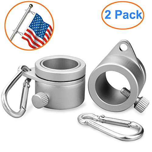 BonyTek 2 Pack Aluminum Alloy Flag Pole Rings, 360 Degree Rotating Flagpole Flag Mounting Rings Spinning Flag Pole Kit with Carabiner for 0.75-1.02Inch Diameter Flagpole (Silver)