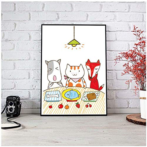 nr Cute Cartoon Kitten Dog Fox Cenando Juntos Mesas de Comedor Habitacion de los ninos Cocina Moderna Decorativa -24x32 IN Sin Marco