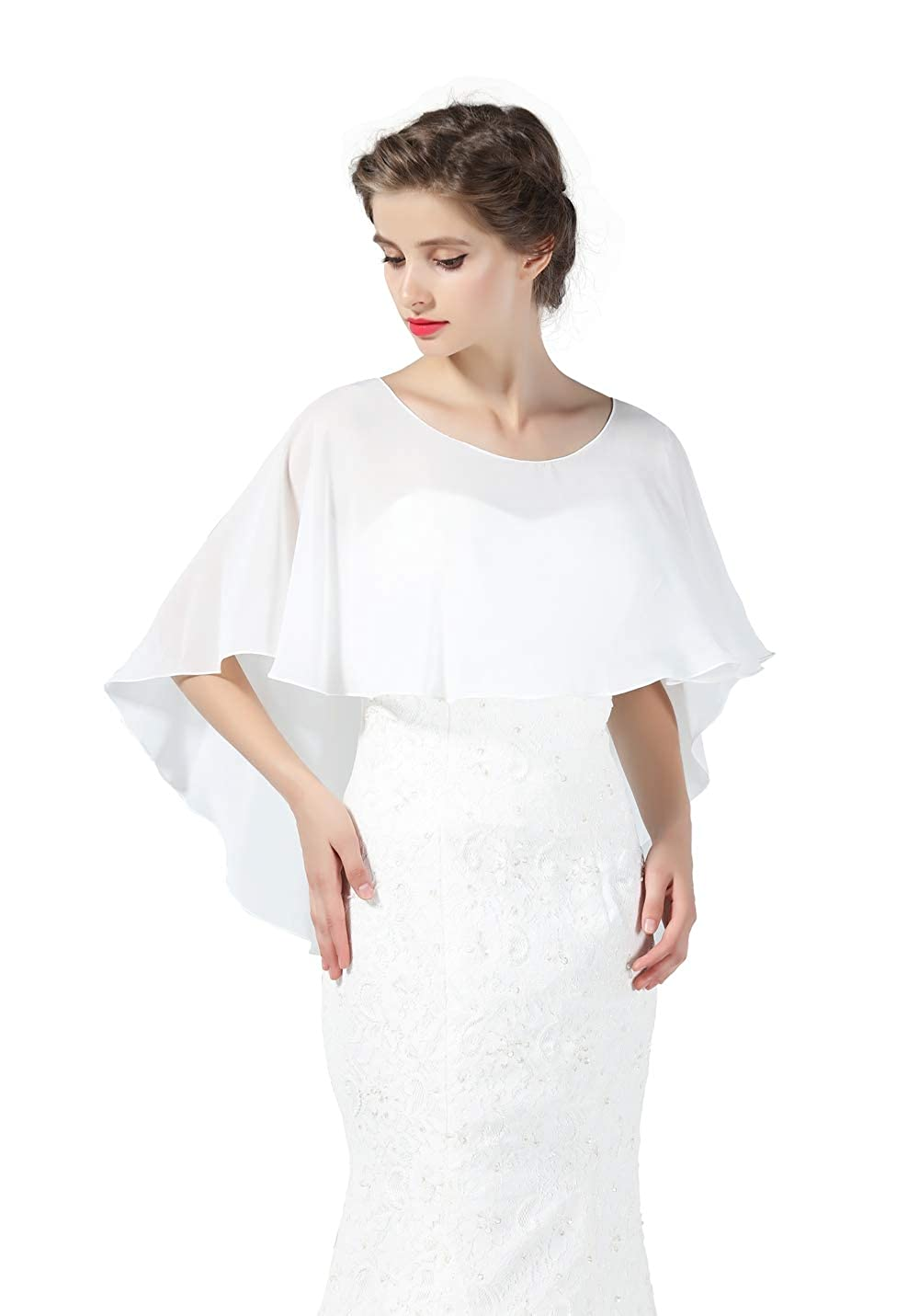 BEAUTELICATE Chiffon Shawl Cape High-Low Tops Capelet for Women Summer Ladies Bridal Wedding Evening 28 Colors