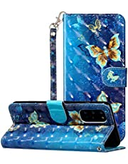 """3D Wallet Case for Samsung Galaxy S20 6.2"""",Aoucase Ultra Slim Strap Fancy Painted Magnetic PU Leather Soft Silicone Card Slot Stand Case with Black Dual-use Stylus,Golden Butterfly"""