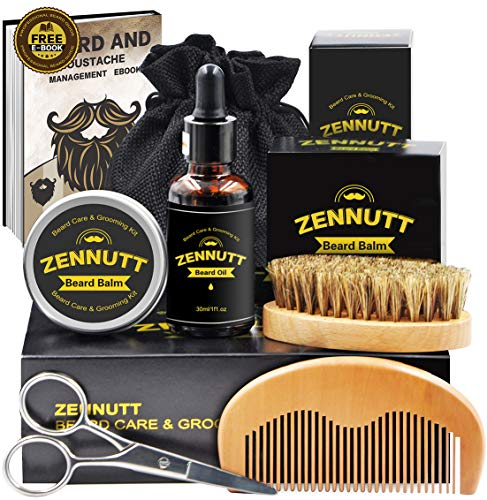 Ultimate Beard Care Kit for Men Beard Growth & Grooming Set w/ Beard Balm Butter & Beard Oil & 100% Boar Beard Brush &  Wood Beard Comb & Beard & Mustache Scissors,Best Gifts Set