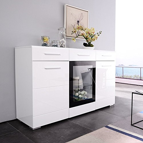 Sideboard Buffet Chest - Mecor LED Light Adjustable Color Sideboard Buffet Storage White Kitchen Dining Room Furniture (3 door & 2 drawers)