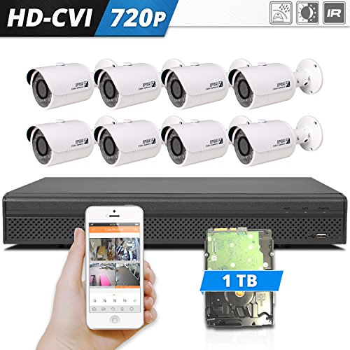 Dahua 8 Camera HD-CVI Video Surveillance Security HD 720p Camera System W/ 8 Channel DVR and 1 TB Hard Drive