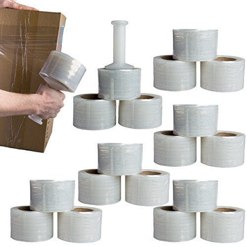 Shield Wrap (18 Rolls) 3 Inch x 1000 Feet Pallet Stretch Film Wrap 80 Gauge Handle Clear Shrink Wrap ()