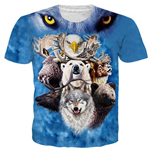 (Loveternal Mens Casual Animal Print Shirt Graphic Round Neck Short Sleeve Personalized T-Shirts Summer Designer Top Tee L)