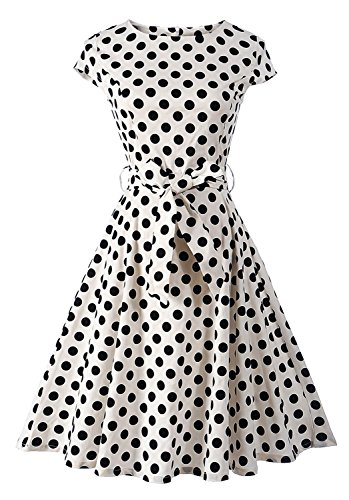 GALSANG-Womens-Vintage-Picnic-Tea-Party-Dress-1950s-Cap-Sleeve-Polka-Dots-Swing-Dress-R04-White-X-Large