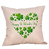 St Patricks Day Throw Pillow Cover Linen 18X18 Printed Pillow Cushion Cover Decorative Square Home Decor Pillow Case for Sofa Bedroom Club (D)