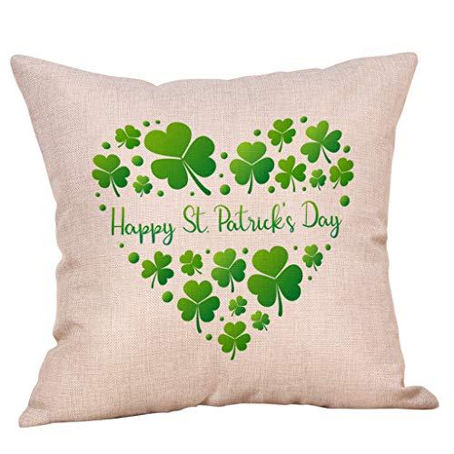 (St. Patricks Day Green Home Decor Throw Pillow Case Cushion Cover 18 x 18 Inch Cotton Linen (D4))