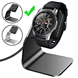CAVN Compatible with Samsung Galaxy Watch Charger 42mm 46mm Gear S3 Charger Dock Stand, Replacement Aluminum Charging Cable Cord Station Cradle Base with 4.2ft USB Accessory (Not for Active), Black