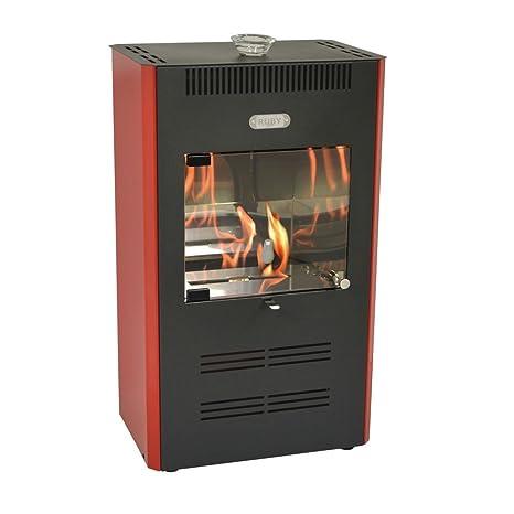 Estufa de bioetanol de 3.000 W ventilada, con mando a distancia, color burdeos -