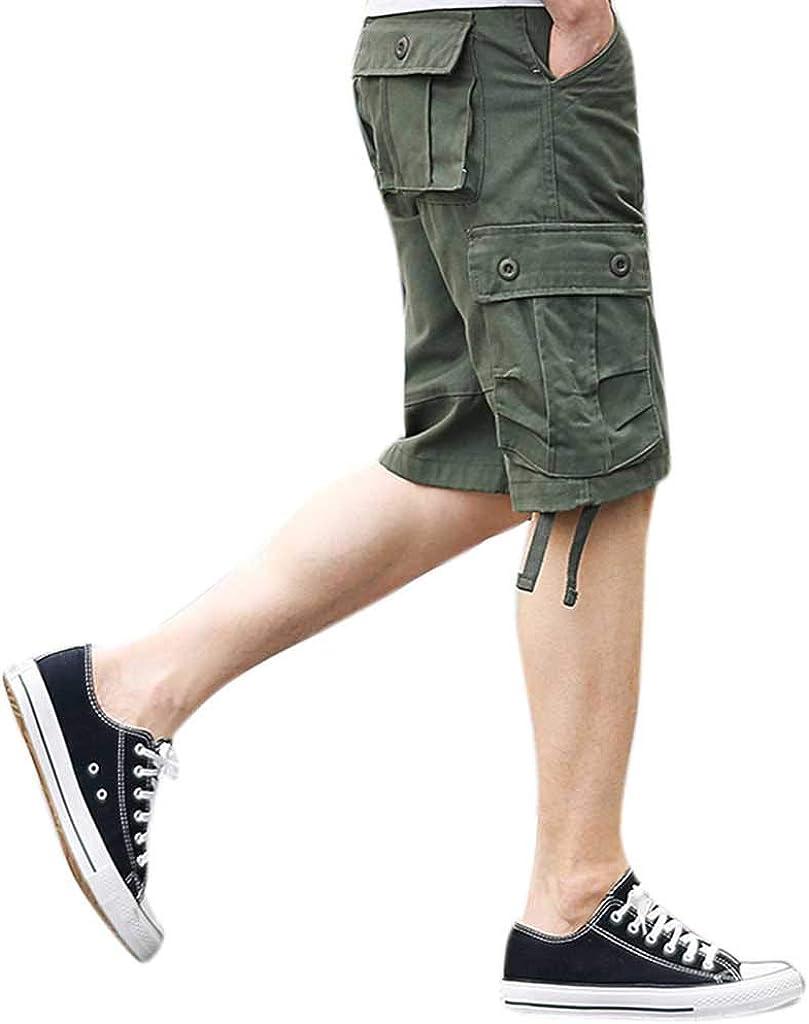 MODOQO Mens Cotton Cargo Shorts Multi-Pocket Workout Summer Loose Fit Trouser Pants