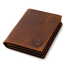 J.Market Men Genuine Leather Wallets Full Grain Leather Bifold Wallet (vertical, Brown)