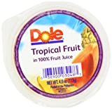 DOLE FRUIT BOWLS Tropical Fruit in 100% Juice 4-Ounce Cups (Pack of 36)