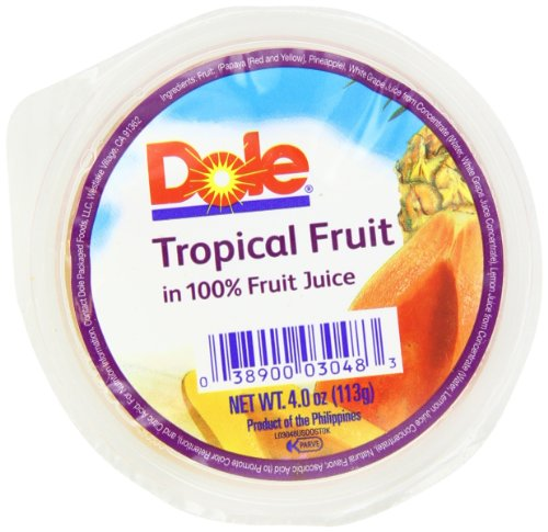 - DOLE FRUIT BOWLS Tropical Fruit in 100% Juice 4-Ounce Cups (Pack of 36)
