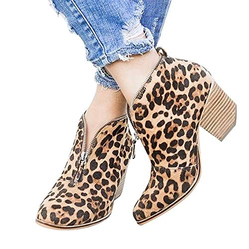 SNIDEL Womens Ankle Boots Zip Pump Booties Cunky Low Heels Slip on Shoes Leopard 7 B (M) US