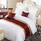 OSVINO European Style Luxury Modern Smooth Bed Runner Scarf Bedding Protection Decoration for Bedroom Hotel, Red 240X50cm for 180cm Bed