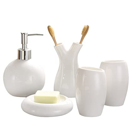ALDONGPENG Cuarto de baño exclusivo hotel de accesorio de cerámica Set Incluye cepillo de dientes titular