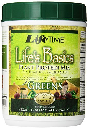 Lifetime Life's Basics Plant Protein with Greens, 19.84-Ounces Tub (Pack of 3) by Nutraceutical Corporation
