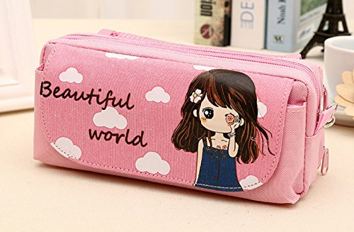 Yunko Portable Large Capacity Cute Pink Multi-layer Cartoon Pencil Case Cosmetic Bag Simple Lovely Cute Canvas Multi-functional Stationery Gift for girls