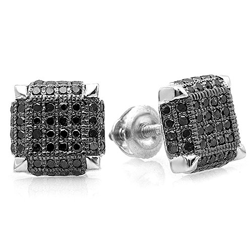 0.50 Carat (ctw) Sterling Silver Black Rhodium Plated - Mens Earrings Cube