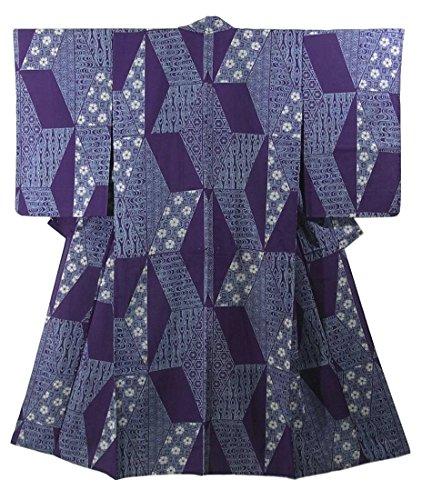 真空ヶ月目スタジオアンティーク 着物 夏物 平絽 麻の葉に花模様や古典柄 正絹 裄61.5cm 身丈147cm