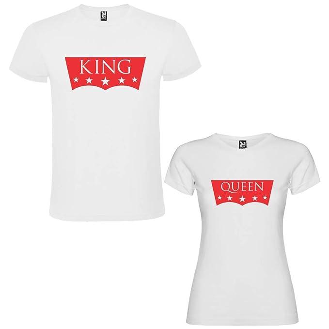 Pack de 2 Camisetas Blancas para Parejas King II y Queen II Rojo: Amazon.es: Ropa y accesorios