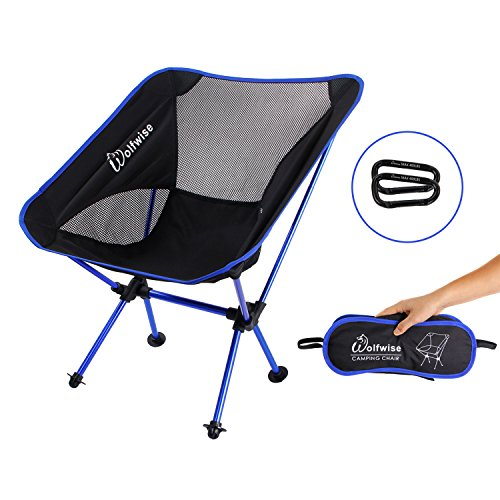 WolfWise Ultralight 2.2 lbs Camping Chairs with Portable Backpacking and carabiner Blue