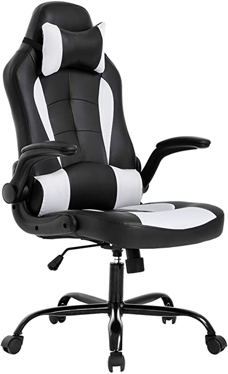 Amazon Com Bestoffice Pc Gaming Chair Ergonomic Office Chair Desk Chair With Lumbar Support Flip Up Arms Headrest Pu Leather Executive High Back Computer Chair For Adults Women Men Black And White Furniture